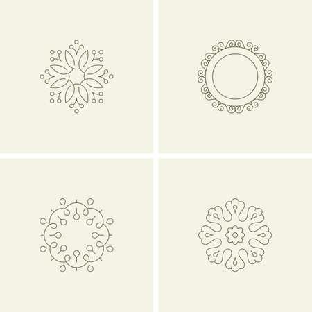 marcos decorativos: elementos de la flor abstractos. estilo de línea Vectores
