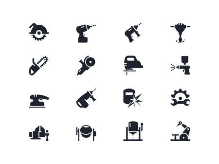 drill: Electric work tools icons set. Lyra series