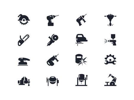 outils de travail électriques icons set. série Lyra