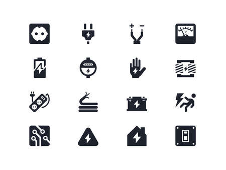 electrocution: Electricity icons set. Lyra series