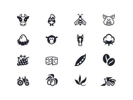 oil crops: Farm icons set. Lyra series
