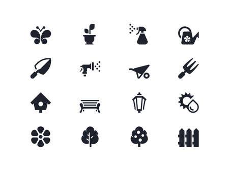 home gardening: Gardening icons set. Lyra series