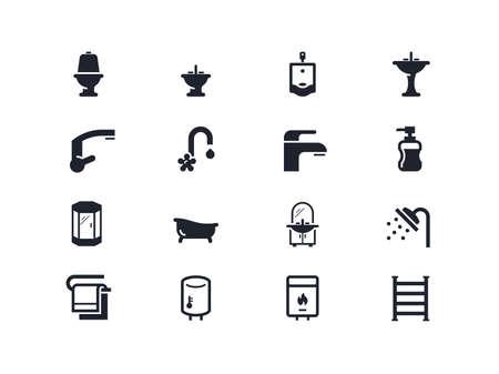 hot tub: Plumbing icons set. Lyra series