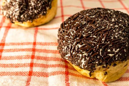 chocolate sprinkles: Round Donut with chocolate sprinkles Stock Photo
