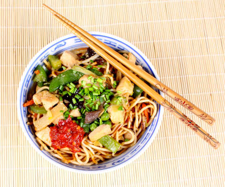 China pan with chopsticks on bamboo background