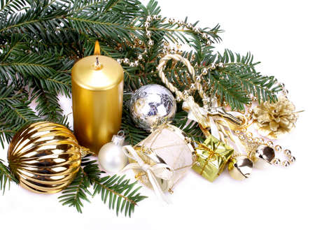 Christmas decoration with candle over white background Stock Photo - 16535869