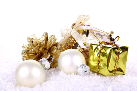 Golden Christmas decoration on white background isolated Stock Photo - 16535859