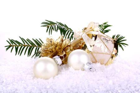 Golden Christmas decoration on white background isolated Stock Photo - 16535862