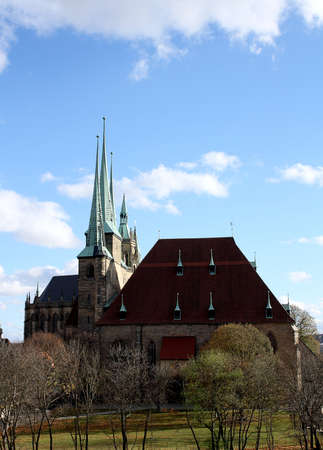 Old Church Cathedral in Erfurt with three points Stock Photo - 17164077