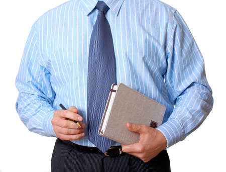 appointment book: Businessman in blue shirt with appointment book and pen isolated