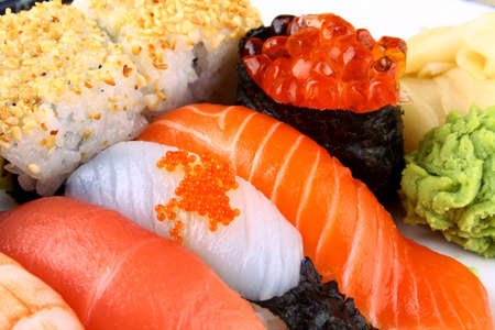 Selected sushi delicacy with ikura and wasabi, closeup photo