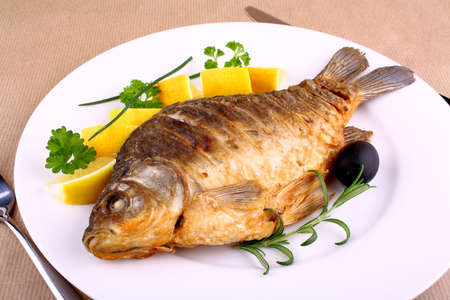 Fried carp on white plate with knife and fork, closeup Stock Photo - 18456650