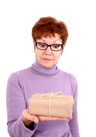 Attractive mature woman with surprise, isoliert photo