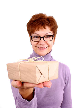 isoliert: Attractive, funny mature woman with surprise, isoliert Stock Photo