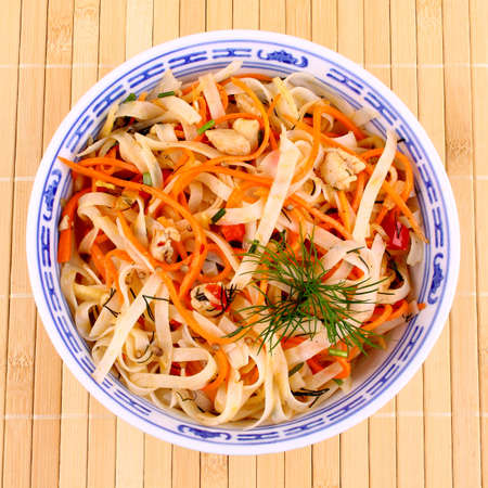 Asian rice noodle salad with chicken meat and carrots, top view Stock Photo - 18702502