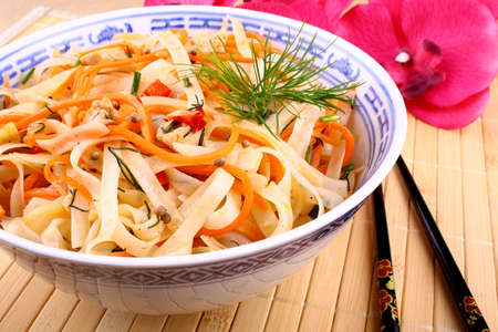 Asian rice noodle with chicken meat, chopsticks and sauce Stock Photo - 18702506