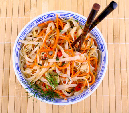 Asian rice noodle with chicken meat and chopsticks, top view Stock Photo - 18702600