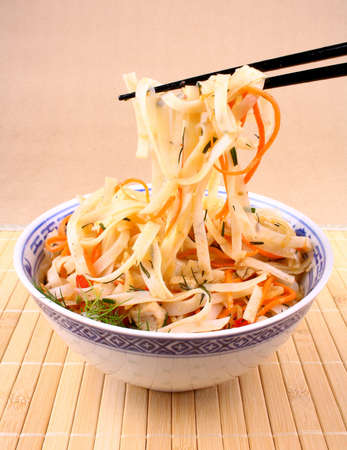 Rice noodle with chopsticks taken, close up Stock Photo - 18702584