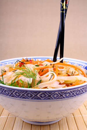 Asian rice noodle with chicken meat and chopsticks, close up Stock Photo - 18791293
