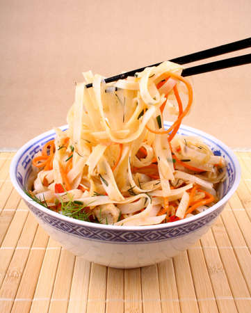 chicken meat: Asian rice noodle with chicken meat and chopsticks, top view