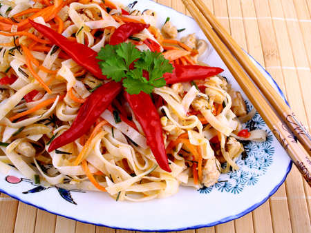 Asian rice noodle with chicken meat and chili star, top view Stock Photo - 18791311