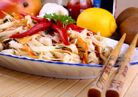 Rice noodle with chicken meat and chili star, close up Stock Photo - 18791298