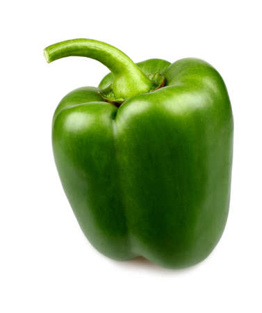 Green pepper on white background, close up Imagens