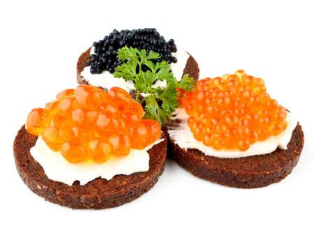 sturgeon: Pumpernickel bread topped with salmon, trout and sturgeon caviar