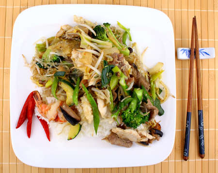 Asian dish with glass noodles, rice, meat, prawn and vegetables, top view Stock Photo - 19323642