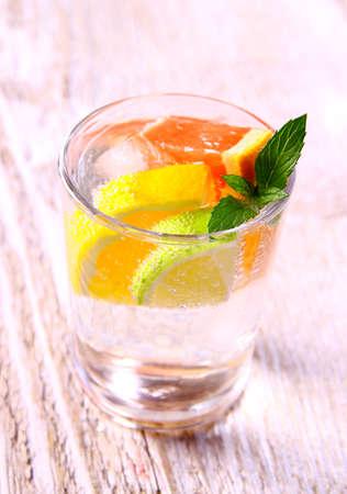 Tonic lemonade with grapefruit, lemon and lime, soft focus