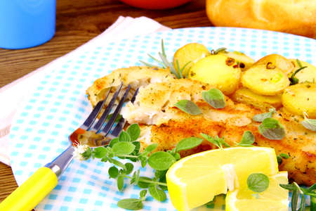 Rosemary potatoes and fish fillet fried with vegetables, close up Stock Photo - 21644630