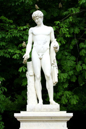 Gothic sculpture of Apollo in park Sanssouci, close up photo