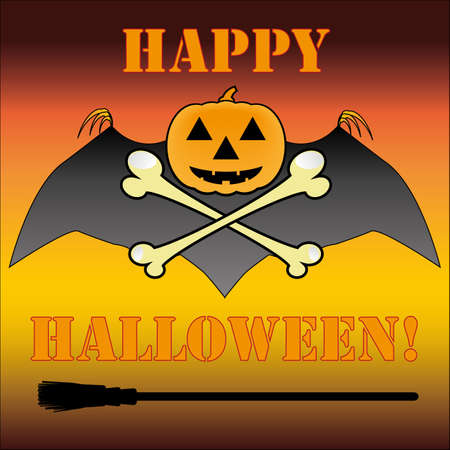 Halloween pumpkin with bat, bones, broom and heading Vector