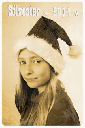 Retro postcard with girl in santa claus hat, vertical photo