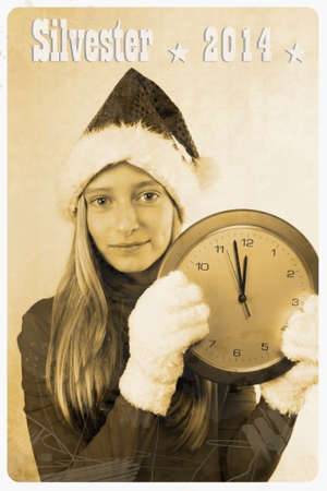 Retro postcard with girl in santa claus hat and clock, vertical photo