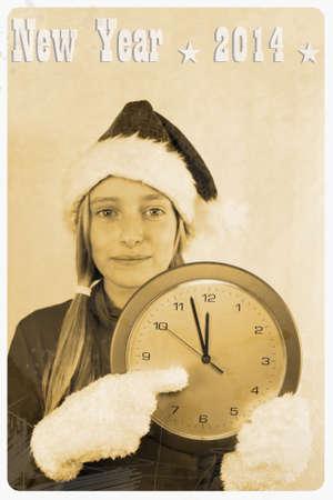 Retro postcard - girl in santa claus hat with clock, illustration illustration