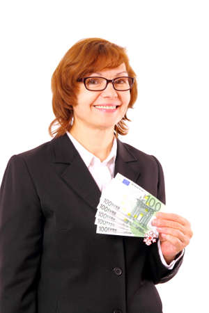 Redhead business woman holding money with Christmas snowflake, isolated photo