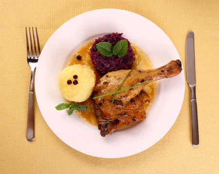 Duck leg with potato dumplings, red cabbage and gravy, top view photo