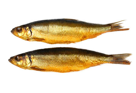 Two kippers, smoked herring on white background, top view Stock Photo