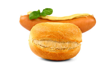 German sausage with bun, mustard and basil, isolated 스톡 콘텐츠