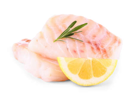 ocean fish: Cod fish fillet with lemon, rosemary on white, isolated