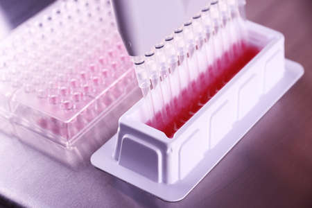 multi pipette in microbiology laboratory, close up