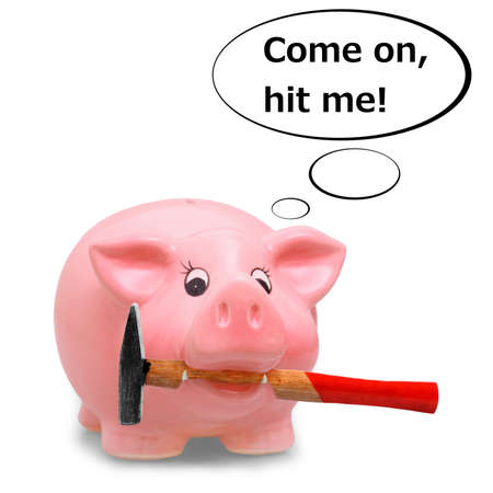 Piggy bank holding hammer in his mouth, illustration