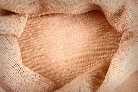 gunny: Empty gunny sack floor as a background, top view Stock Photo