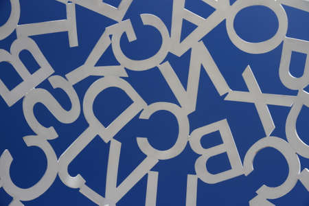 ANTIBES, FRANCE - AUG 27, 2014: Sculpture of white steel painted letters as background