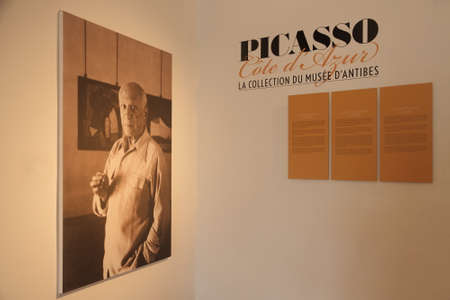 pablo: Antibes, FRANCE - 30 August 2014: museum panel of Pablo Picasso, Antibes, editorial Editorial