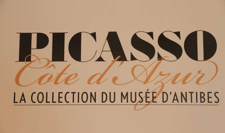 pablo picasso: Antibes, FRANCE - 30 August 2014: museum panel of Pablo Picasso, Antibes, editorial Editorial