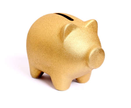 Golden piggy bank from front side right, isolated