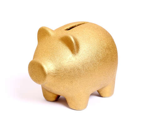 Golden piggy bank from front side left, isolated Stock Photo