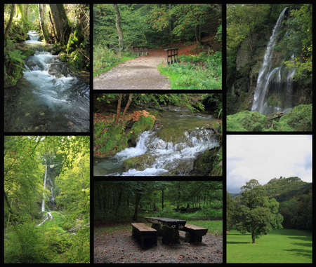 Landscape collage of Bad Urach with waterfall, autumn photo